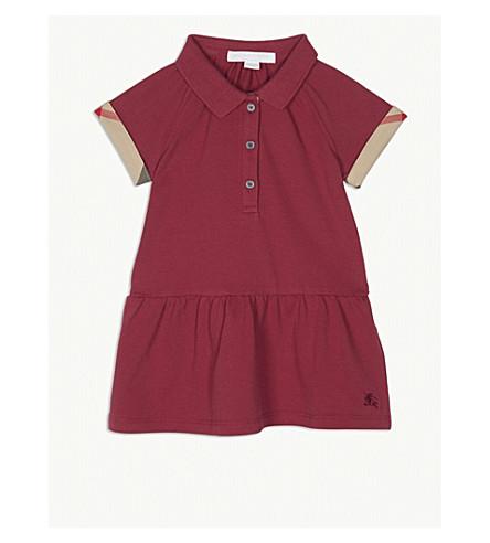 BURBERRY Check trim stretch cotton polo dress 6-36 months (Garnet+pink