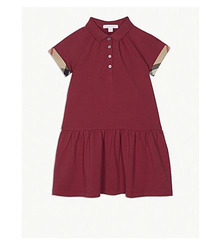 BURBERRY Check trim stretch cotton polo dress 4-14 years (Garnet+pink