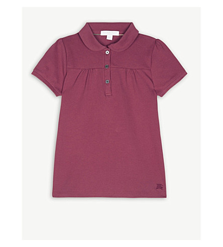BURBERRY Karley cotton polo shirt 4-14 years (Garnet+pink