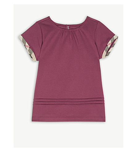 BURBERRY Check-printed cotton top 4-14 years (Garnet+pink