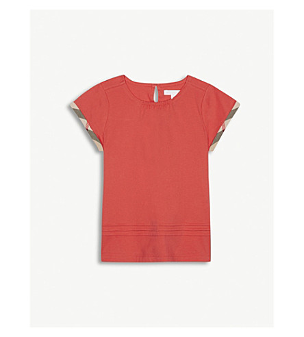 BURBERRY Giselle pleated and check detail cotton T-shirt 4-14 years (Bright+orange+red