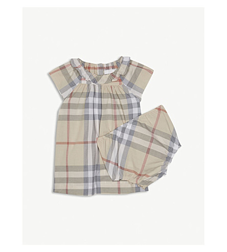 BURBERRY House check cotton dress and under shorts set 3-24 months (Pale+stone