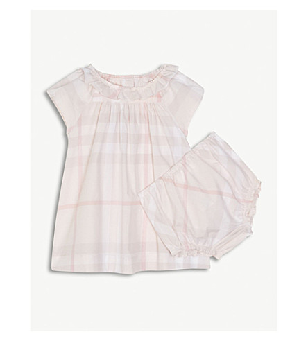 BURBERRY Emerald House Check cotton dress 3-24 months (Ice+pink
