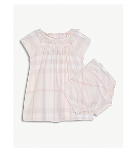 BURBERRY 翡翠屋检查棉裙3-24 月 (冰 + 粉红色