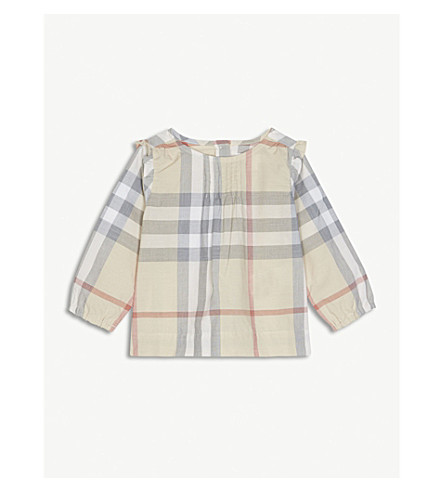 BURBERRY Neela House Check A-line shirt 3-24 months (Pale+stone
