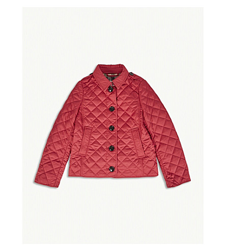 BURBERRY Ashurst quilted jacket 4-14 years (Crimson+pink