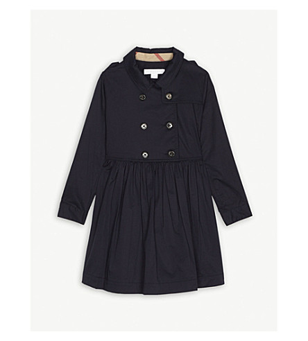 BURBERRY Lillyanna cotton trench dress 4-14 years (Midnight+blue