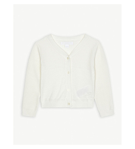 BURBERRY Francis knitted cotton cardigan 3-24 months (White