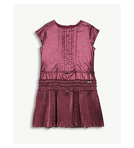 BURBERRY Clarna metallic finish silk-blend dress (Bright+fuchsia