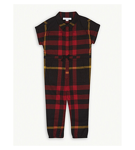 BURBERRY Check print short-sleeved cotton jumpsuit 6-36 months (Black
