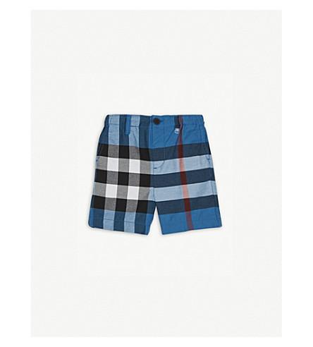 BURBERRY Sean check print cotton shorts 6-36 months (Azure+blue