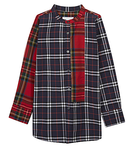 BURBERRY Collarless tartan and check cotton shirt 4-14 years (Navy