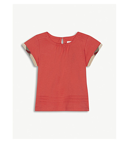 BURBERRY Mini Giselle check trim T-shirt 6-36 months (Bright+orange+red