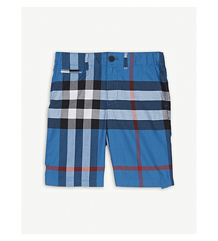 BURBERRY Check print cotton shorts 4-14 years (Azure+blue