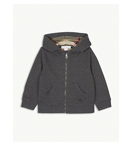 BURBERRY Mini Pearce cotton hoody 6-36 months (Charcoal