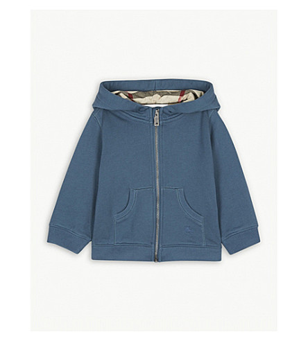 BURBERRY Mini Pearce cotton hoody 6-36 months (Pewterblue