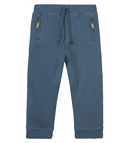 BURBERRY Drawcord cotton jogging bottoms 6-36 months (Pewterblue