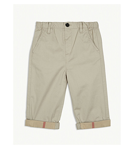 BURBERRY Ricky roll-up cotton trousers 6-36 months (Grey+stone
