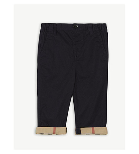 BURBERRY Ricky roll-up cotton trousers 6-36 months (Ink