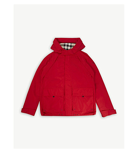 BURBERRY Yately hooded shape-memory showerproof taffeta field jacket 4-14 years (Bright+orange+red