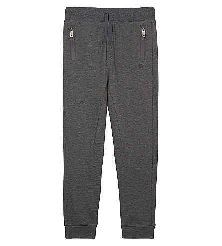 BURBERRY Phill cotton tracksuit bottoms 4-14 years (Charcoal+melange