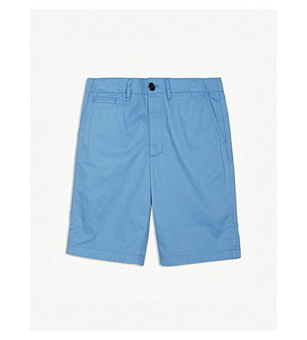 BURBERRY Tristen cotton chino shorts 4-14 years (Chalk+blue