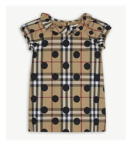 BURBERRY Polka-dot checked cotton dress 6-36 months (Navy+check