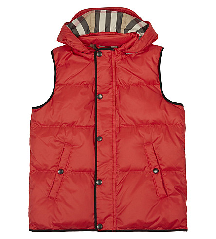 BURBERRY Carlton hooded gilet 4-14 years (Bright+orange+red