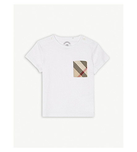 BURBERRY Check print pocket cotton T-shirt 6-36 months (White