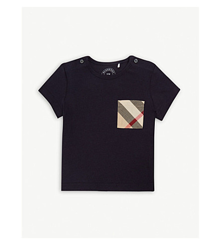 BURBERRY Check print pocket cotton T-shirt 6-36 months (Navy