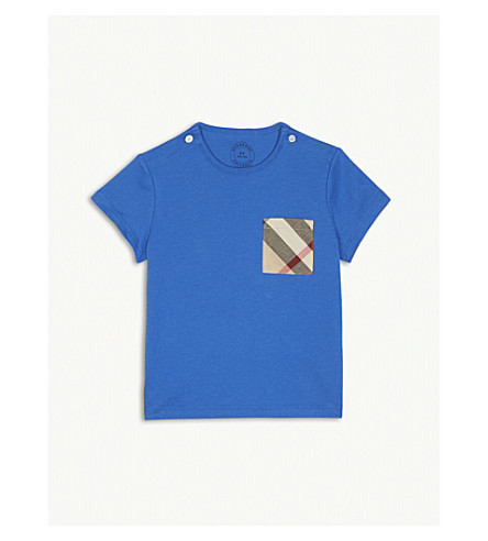 BURBERRY Check pocket cotton T-shirt 6-36 months (Cobaltblue