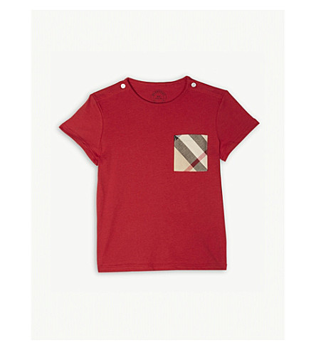 BURBERRY House check cotton T-shirt 6-36 months (Militaryred