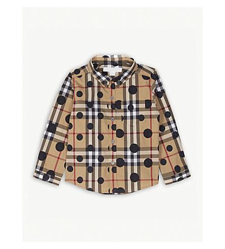 BURBERRY Polka dot check print cotton shirt 6-36 months (Navy