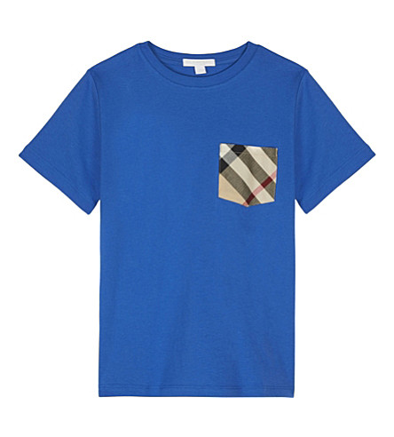 BURBERRY Check pocket cotton T-shirt 4-14 years (Cobalt+blue