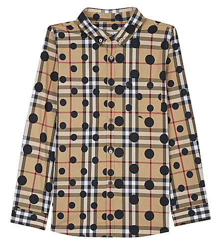 BURBERRY Polka-dot check cotton shirt 4-14 years (Navy