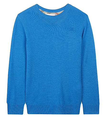 BURBERRY Check elbow patch cashmere jumper 4-14 years (Cyan+blue