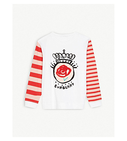 BURBERRY Rose and striped-sleeve cotton top 4-14 years (Natural+white