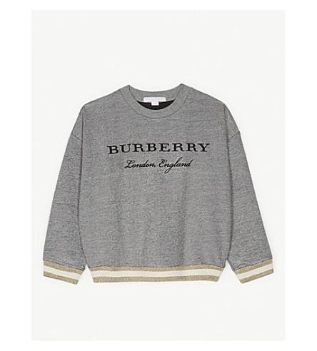 BURBERRY Eli metallic finish cotton-blend jumper 4-14 years (Grey+melange