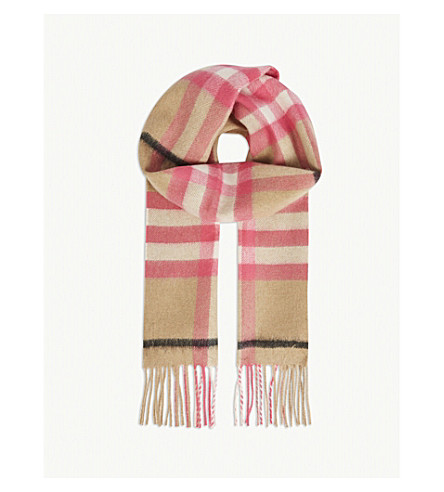 BURBERRY Giant Check cashmere scarf (Bright peony
