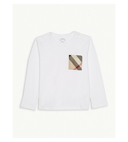 BURBERRY Check pocket cotton T-shirt 3-36 months (White