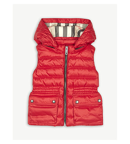 BURBERRY Mini Maggie hooded down gilet 6-36 months (Bright+cherry+red