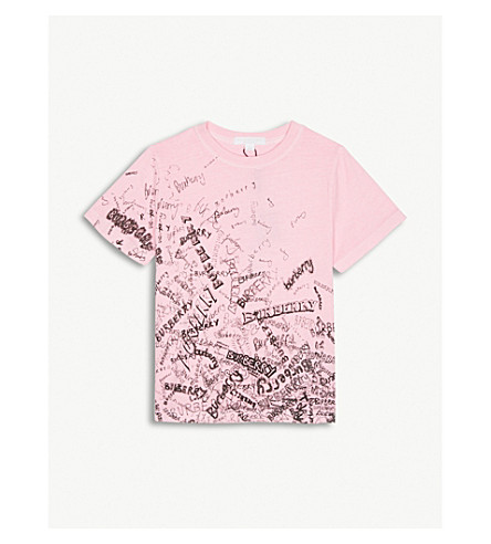 BURBERRY Rea doodle print cotton T-shirt 4-14 years (Bright+rose