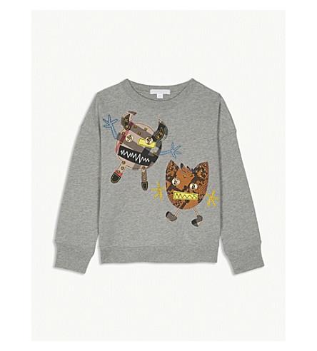 BURBERRY Monster embellished cotton sweatshirt 4-14 years (Grey+melange