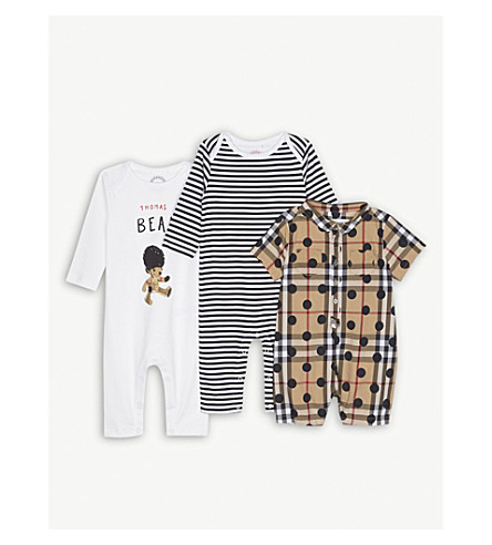 BURBERRY Thomas Bear three-piece cotton baby set 1-6 months (Navy