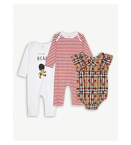 BURBERRY Thomas Bear three-piece cotton baby set 1-6 months (Military+red