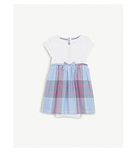 BURBERRY Mini Rosey cotton romper dress 6-36 months (Chalk+blue