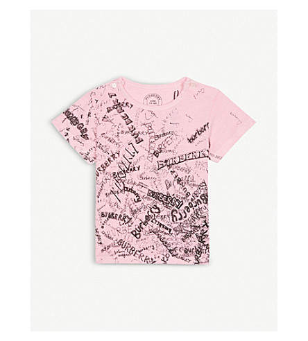 BURBERRY Mini Rea doodle print cotton T-shirt 6-36 months (Bright+rose