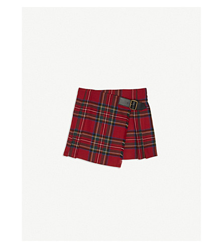 BURBERRY Tartan wool kilt 4-14 years (Bright+red