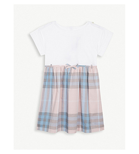 BURBERRY Rhonda cotton check print dress 4-14 years (Ice+pink