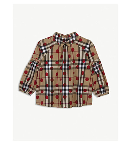 BURBERRY Check polka dot cotton top 3-36 months (Parade+red